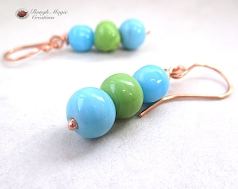 Sky Blue and Lime Green Wabi Sabi Earrings, Stacked Dangles, Tropical Beach Colors, Colorful Ceramic Beads, Imperfectly Perfect E509