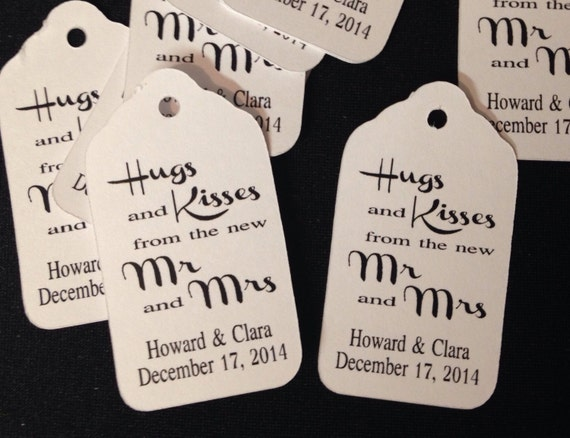 Small Personalized Hugs and Kisses from the new Mr and Mrs Favor Tags CHOOSE your Quantity