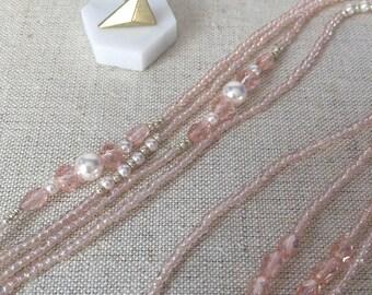 BLUSH CRYSTAL necklace // Minimalist necklace // Pearl necklace // Long layer necklace // wrap necklace // Reed sterling