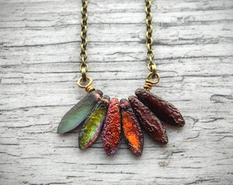 Fall Colors Necklace Shabby Chic Multicolor Necklace Rustic Autumn Red Etched Sea Glass Pendant