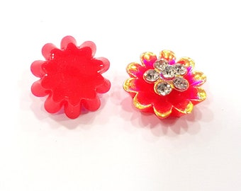2 Rainbow Red Flower Cameo Cabochon 15mm  G12257