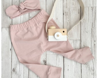 ORGANIC dusky pink cotton jersey handmade baby toddler girls leggings. Baby gift.