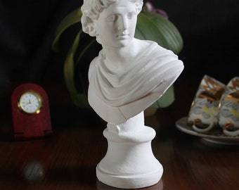 Bust of Apollo, Classic Sculpture, Greek Art, Gypsum Sculpture, Head Bust, Apollo Bust, Figure, Greek Sculpture, God of Music, Sun, Light