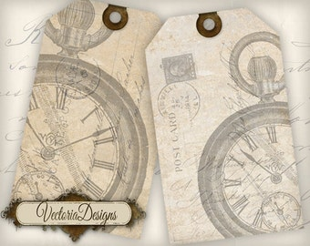 Postcard Watch Tags instant download printable gift tags digital Collage Sheet - VD0362