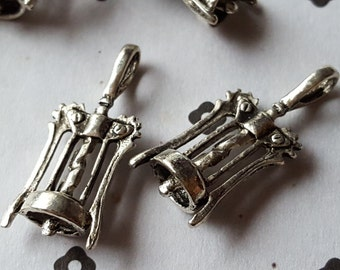Antiqued Silver Wine opener Charms (4)