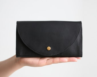 Clutch Wallet Black, Leather Clutch, Secretary Wallet, Big Leather Wallet