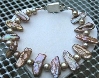 Pink & Golden Stick Pearl Line Bracelet - B211