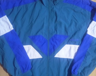 Adidas Originals 90's Vintage Mens Tracksuit Top Jacket Nylon Warm Up Turquoise