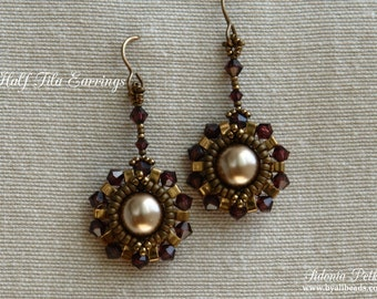 Half Tila Earrings Tutorial - Carmen Earrings - Half Tila Pattern - Digital Download - PDF