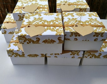 10 bridesmaid gift box, wedding favor boxes, custom wedding, boxes with lids, jewelry packaging, gold boxes, gift box, printed boxes