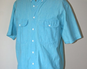 CLEARANCE, Awesome Vintage 1980's Levi's, Diamond Label, Mens Shirt, Light Turquoise Color, Short Sleeve, Summer Shirt