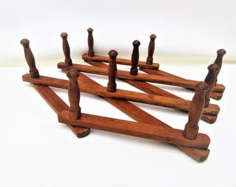 Vintage Accordion Peg Rack | Wooden Wall Rack | Expandable Wall Organizer | Folding Hat Coat Rack