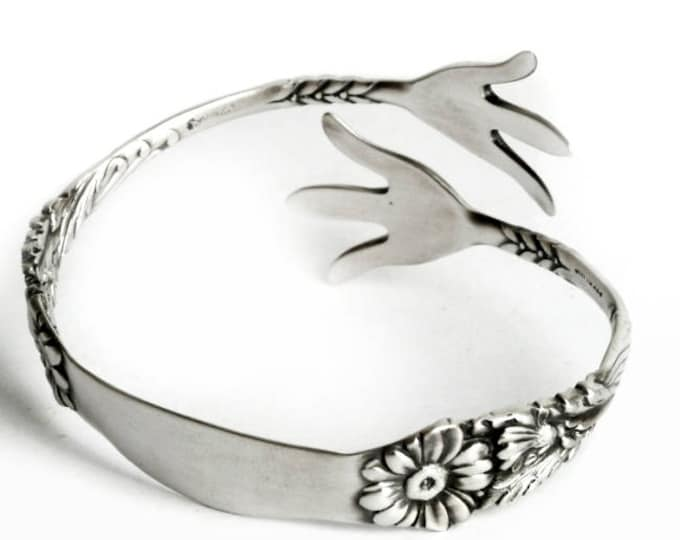 """Daisy Claw Spoon Bracelet, Sterling Silver Gorham pattern of 1901 """"Marguerite"""" Bangle with Engraved B, Adjustable Size (6979)"""