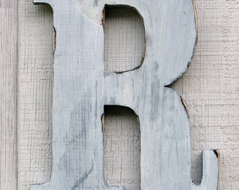 Rustic Wooden Letters Wood Letters Shabby Chic R Distressed Painted White, 12 Inch Tall Wood Name Letters, Custom Wedding Gift