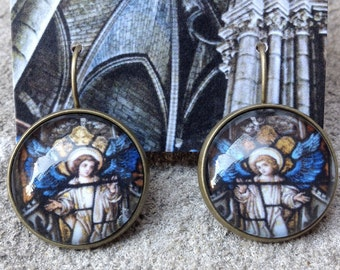 Two Stained Glass Angels Earrings, 20mm, 20-ABB