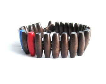 Mens bracelet wood beaded cuff bracelet brown wooden bracelet gift for him two tone blue red bracelet wooden jewelry