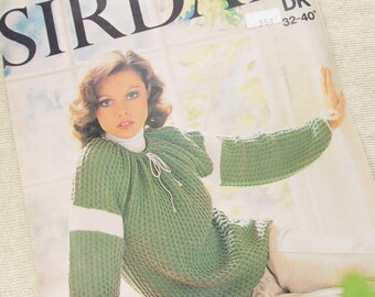 Woman's Blouson Sweater, Size 32 to 40 Inch - Retro Sirdar Knitting Pattern 5814