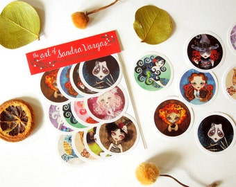 Art Sticker Pack #2 - Set of 12 Stickers, Popsocket Stickers Postcrossing Swap Pen Pal Gift