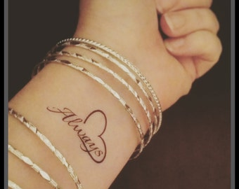 quote fake tattoo quote word tattoo temporary tattoo always tattoo heart fake tattoo inspirational tattoo