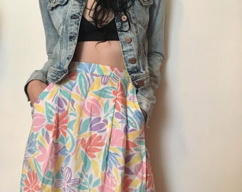 80s pastel funky floral skort, fresh high waisted skirt, small - vintage -