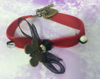 charms and black organza red velvet cuff