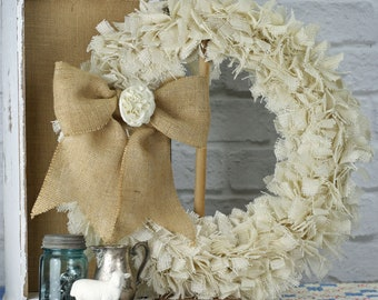"23"" Burlap Rag Wreath - Off White - Ready to Ship"