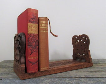 Vintage Carved Wood Bookends, Expanding Book Rack, Hand Carved Wood Bookshelf, Made in India