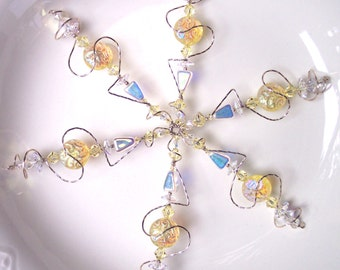 Lemon Meringue Crystal Snowflake Christmas Ornament in Silver / Christmas Gift / Solstice Gift