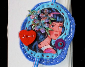 BOOKMARK< Felt and Fabric handmade unique Bookmarks Heartfelts TM girl with heart vintage