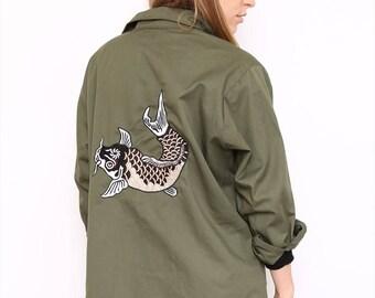 Vintage Reworked Khaki Embroidered Army Jacket. XL. UK 18/20.