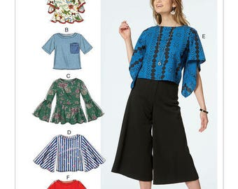 Sewing Pattern for Misses' Tops w/ Sleeve and Hem Variations, McCall's Pattern 7630, New Pattern, Easy Sew Pattern, Short Tops Sleeve Detail