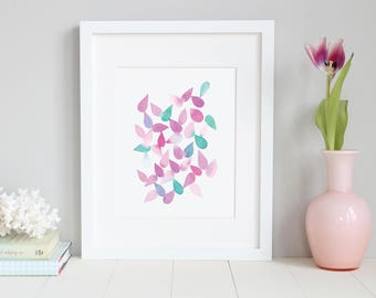 Abstract Wall Art for Living Room. Watercolor Geometric Abstract Art. Watercolor. Abstract Art. Falling Petals Purple.