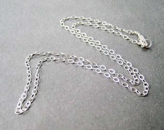 22 Inch Silver Chain Necklace, .925 Sterling Silver Modern Flat Cable Chain, Lobster Claw Clasp, Simple Necklace Chain