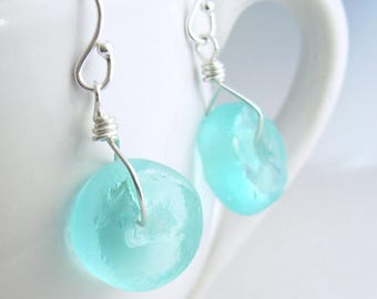 Round Aqua Blue Earrings; Turquoise Recycled Glass Jewelry, Eco Friendly Gifts Under 15