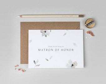 Thank you Matron of Honor Card/Eloise Matron of Honor Card/Matron of Honor/Floral Matron of Honor Card/Watercolour Matron of Honor Card