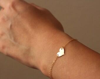 Gold Heart Bracelet / Personalized Heart Bracelet / Gold Heart Bracelet