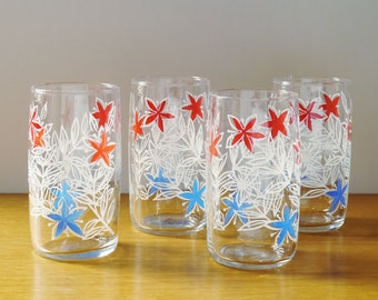 Set Four Vintage Retro Glass Tumblers. Screen Printed Red, White & Blue Floral Design, Mid-Century Modern Bar