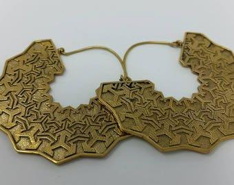 Large brass hook earrings with geometric pattern star fan
