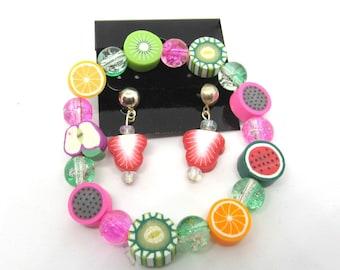 Children's Handmade Polymer Clay Fruit Slice Stretch Bracelet/ Pierced Earring Set (J1c5)
