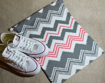 Gray and Pink Chevron Drawstring Travel Shoe Bag