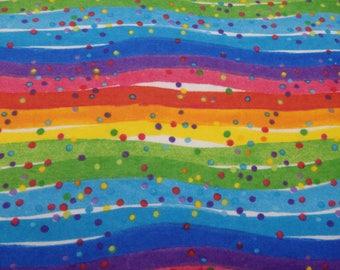 "Rainbow Dot Flannel, Rainbow Stripes, Rainbow Dots, Polka Dots, Cotton Flannel, 43-44"" Wide - By the Half Yard"