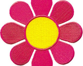Flowers Medium Neon Daisy, Officially Licensed, Iron-On / Sew-On, Embroidered PATCH