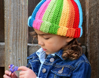 CROCHET PATTERN - Tutti Frutti - crochet hat pattern colorful crochet hat striped hat pattern (Infant - Adult sizes) - Instant PDF Download