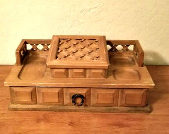 Men's Valet - Light Wood Dresser Royal Sealy Vintage Jewelry Storage