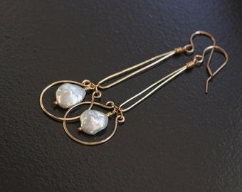 Keishi Keshi Pearl Earrings, 14k Gold Filled, Horse Shoe Frame, Dangle Long, June Birthstone, Wire Wrapped - Chantal