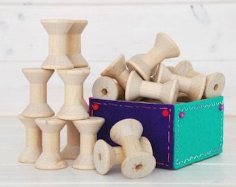 Wood Spools - 6 Medium Wooden Spools - Unfinished -1-15/16th x 1-3/8th  - Medium Wood Spools - Wood Spools for Twine
