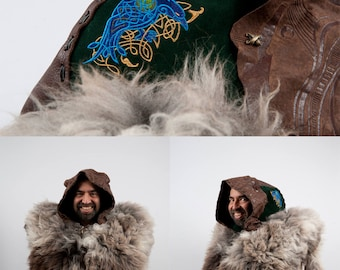 Larp large leather hood celtic raven embroidery brown green costume medieval huntsman fur ranger druid sca fantasy Game of Thrones cosplay