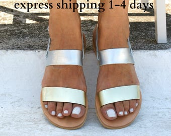 CELESTE sandals/ Greek leather sandals/  summer sandals/ ancient grecian sandals/ strappy sandals/ slingback sandals/ silver-gold sandals