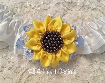 Sunflower Wedding Garter set, Ivory with handmade yellow satin Sunflower, Lace, and Pearls