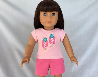 Flip Flops T-Shirt and Pink Shorts for American Girl/18 Inch Doll